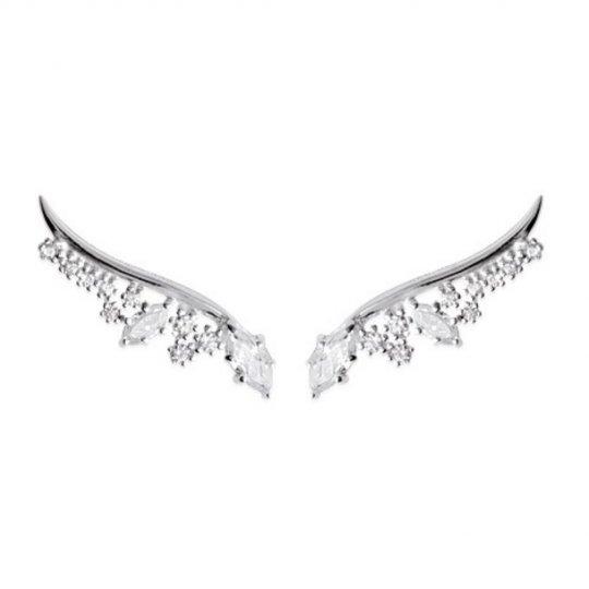 Earrings contour lobe grimpantes argent rhodié - zirconium