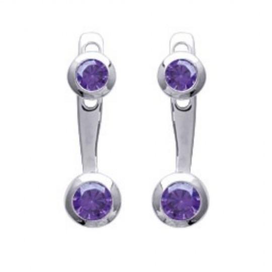 Boucles d'oreilles sous lobe argent oxyde de zirconium violet - Rhodié