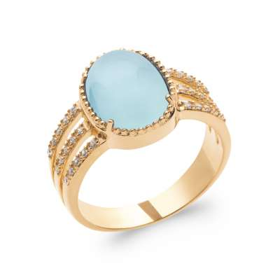 Ring Gold plated 18k 5 Microns - Agate bleue - Women