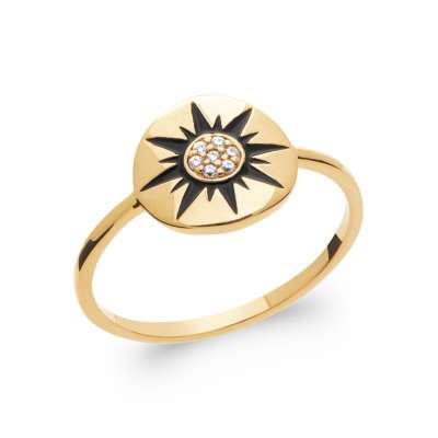 Ring Gold plated 18k 5 Microns - Precious Gemstone Cubic...