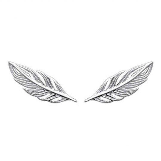 Boucles d'oreilles plumes grimpantes Argent Rhodié - Femme