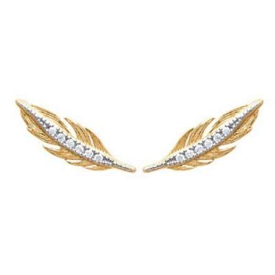 Earrings Feathers grimpantes Gold plated 18k - Oxydes de...