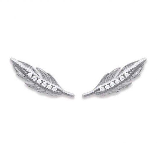 Earrings contour lobe Feathers argent - Oxydes de zirconium