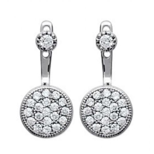 Earrings sous lobe argent rondes - Rhodié - Cubic Zirconia