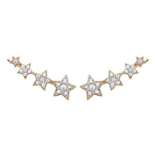 Pendientes contour lobe étoiles grimpantes Chapado en Oro...
