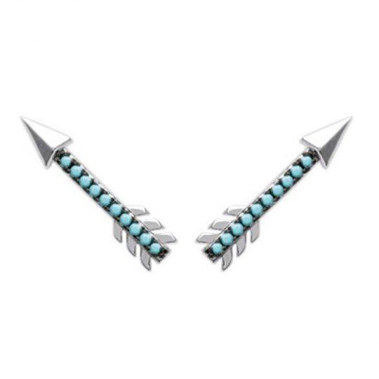 Earrings contour lobe Arrows Black pierres turquoises Argent