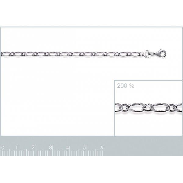 Catena Figaro Argento Sterling 925 Rodiato - Uomo/Donna - 55cm