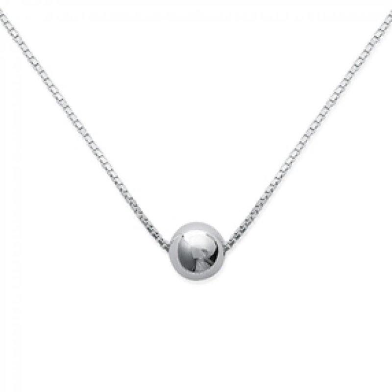 Collar Bola Plata de Ley Rodiada - Mujer - 42cm