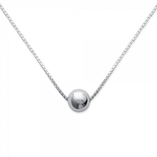 Collana Sfera Palla Argento Sterling 925 Rodiato - Donna - 42cm