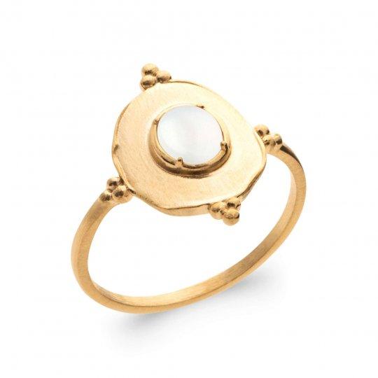 Ring Gold plated 18k 5 Microns - Pierre de lune - Women