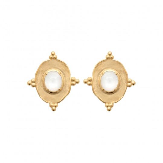 Earrings Gold plated 18k - Pierre de lune - Women