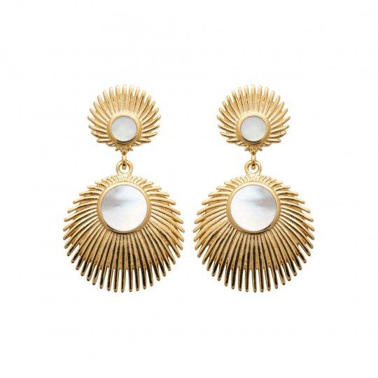 Boucles d'Oreilles Nacre pendantes Plaqué Or 750 - Femme