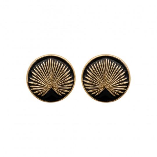Clous ronds Émail Negro Chapado en Oro 18K - Mujer