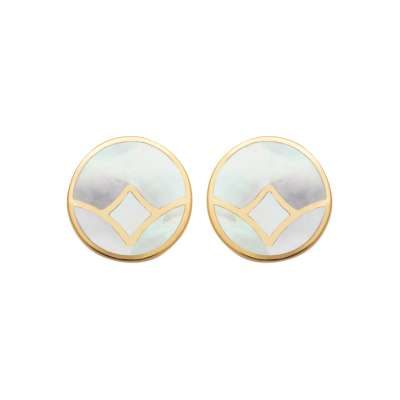 Earrings Mother of pearl rondes Gold plated 18k - Women