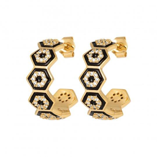 Hoop Earrings art déco Émail Black Gold plated 18k - Women