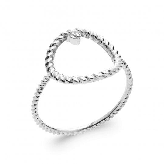 Anello fine tressée anneau Argent Rhodié - Zirconia Cubica