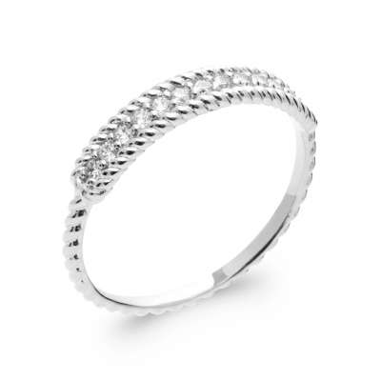Ring fine tressée Argent Rhodié - Cubic Zirconia - Women