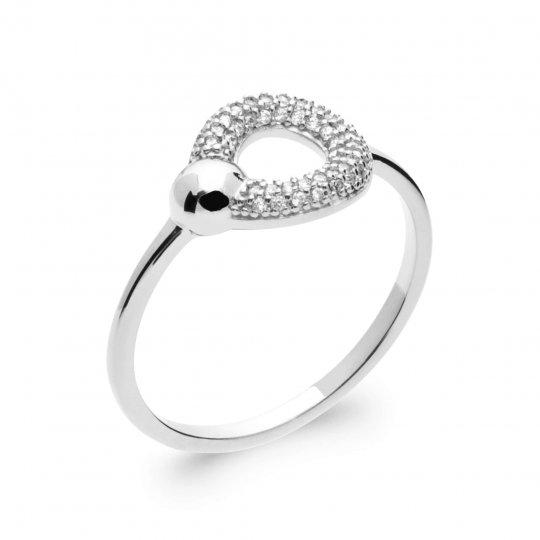 Bague fine anneau Argent Rhodié - Oxyde de zirconium - Femme
