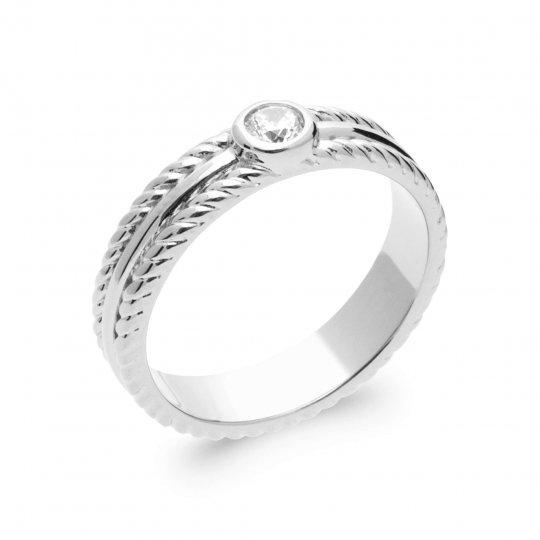 Ring petit Solitaire Argent Rhodié - Cubic Zirconia - Women