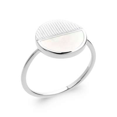 Ring fine Mother of pearl Argent Rhodié - Women