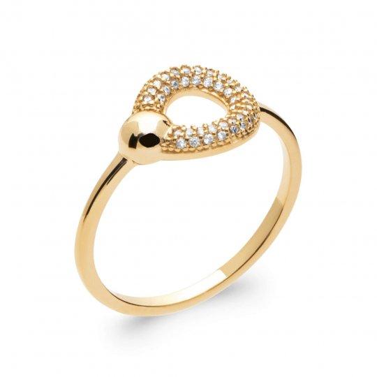 Bague fine anneau Plaqué Or 5 Microns - Oxyde de zirconium