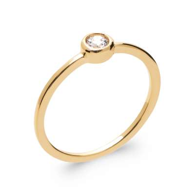 Ring fine Solitaire Gold plated 18k 5 Microns - Cubic...