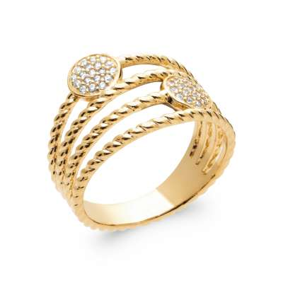 Ring tressée Gold plated 18k 5 Microns - Cubic Zirconia - Women