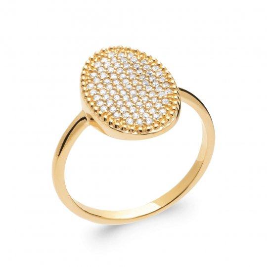 Anello fine ovale Placcato in oro 18k 5 Micron - Zirconia...