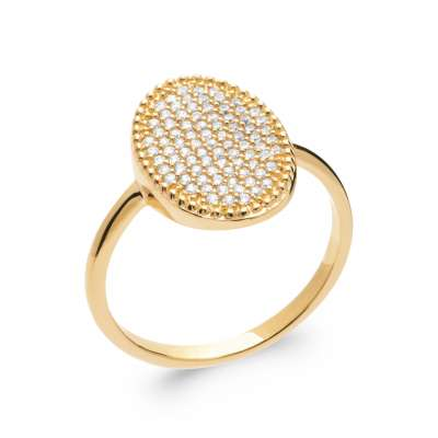 Ring fine ovale Gold plated 18k 5 Microns - Cubic...