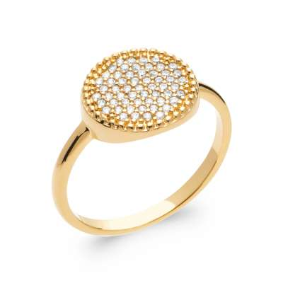 Ring fine rond Gold plated 18k 5 Microns - Cubic Zirconia