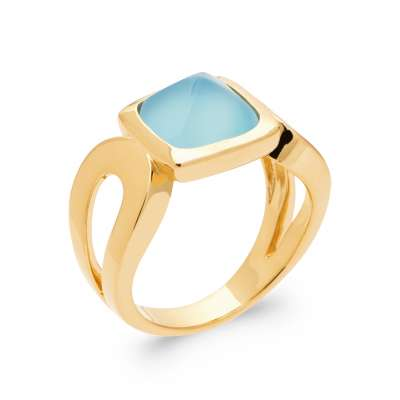 Anello Agate bleue Placcato in oro 18k 5 Micron - Donna
