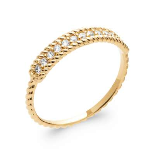 Ring fine torsadée Gold plated 18k 5 Microns - Cubic...