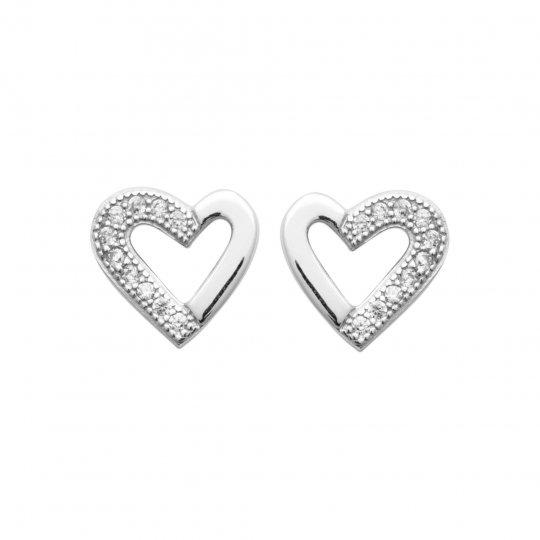 Boucles d'Oreilles coeur Argent Rhodié - Oxyde de zirconium