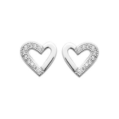 Earrings Heart  Argent Rhodié - Cubic Zirconia
