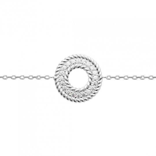 Bracelet rond Argent Rhodié - Oxydes de zirconium - 16cm 18cm