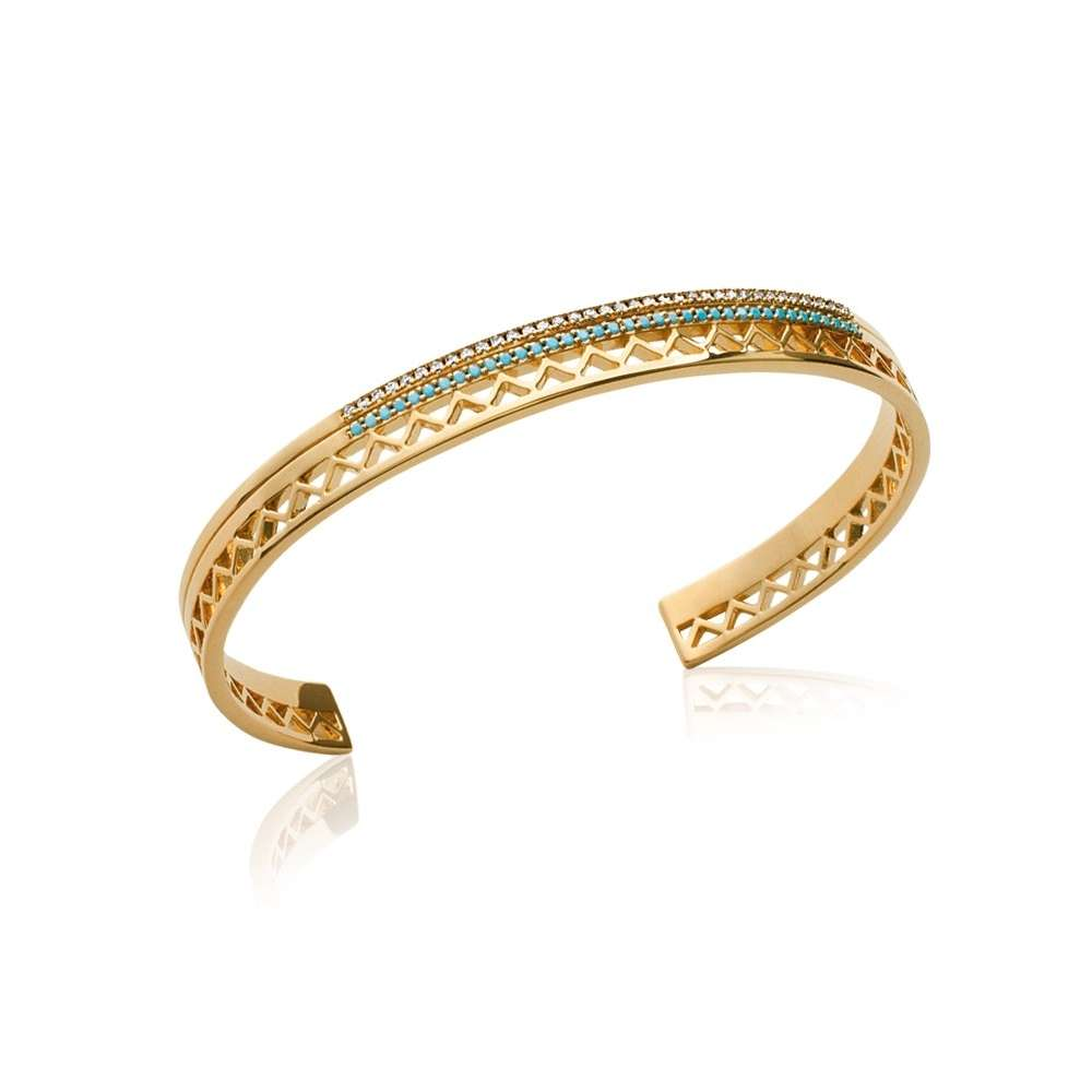 Bangle aztèque pierres bleues turquoise Gold plated 18k - Women - 56mm