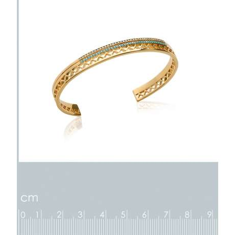 Bracciale Bangle aztèque pierres d'imit.bleues Zirconia Cubica Placcato in oro 18k - 56mm