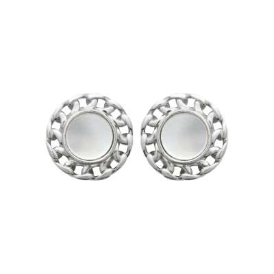 Puces Mother of pearl Argent Rhodié - Mother of pearl -...