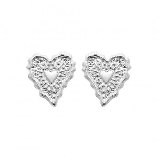 Boucles d'Oreilles coeur Argent Rhodié - Femme