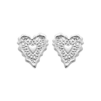 Earrings Heart  Argent Rhodié - Women