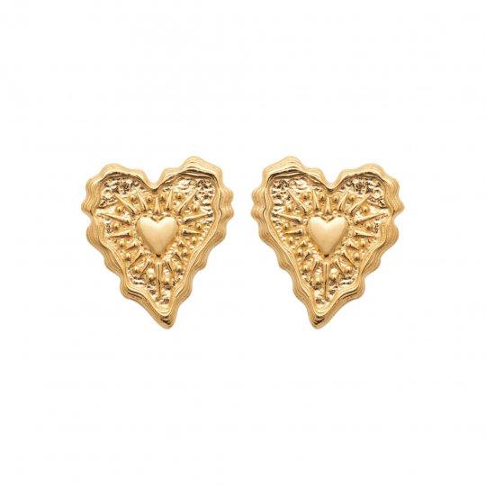 Puces Corazón Chapado en Oro 18K - Mujer