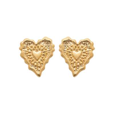Puces Heart  Gold plated 18k - Women