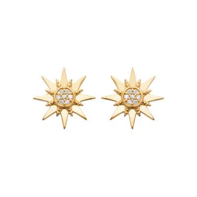 Earrings étoile Gold plated 18k - Cubic Zirconia - Women