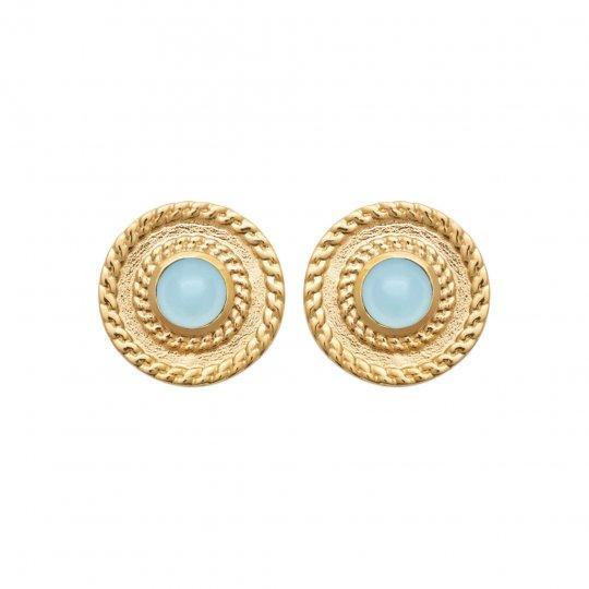 Boucles d'Oreilles Agate bleue Plaqué Or - Femme