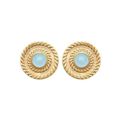 Earrings Agate bleue Gold plated 18k - Women