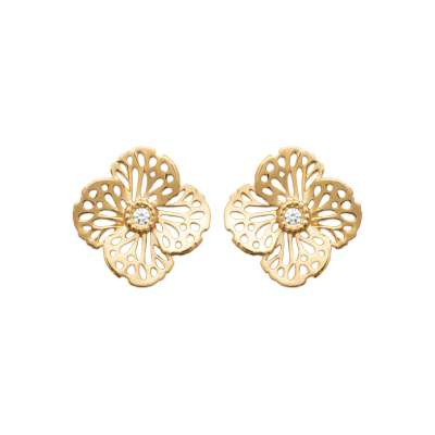 Earrings Flowers Gold plated 18k - Cubic Zirconia - Women