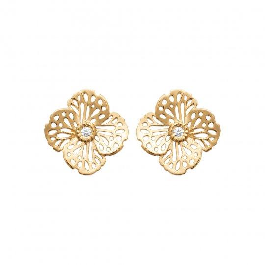 Ohrringe Blumen Vergoldet 18k - Kubisches Zirkonoxid - Damen