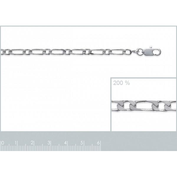 Bracelet chaîne Figaro Argent Massif Rhodié - Homme/Femme - 18cm