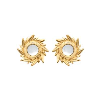 Earrings Mother of pearl Soleil Gold plated 18k - Women