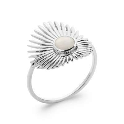Ring Mother of pearl fine Argent Rhodié - Women